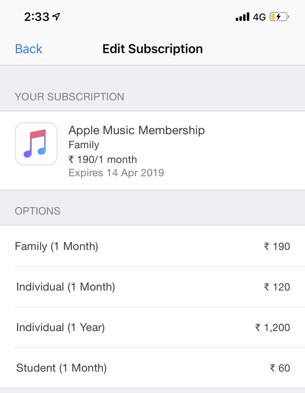 Apple music for a year cost