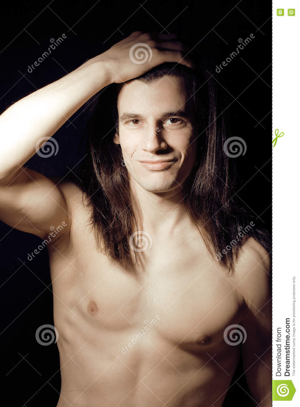 Naked guy with long hair